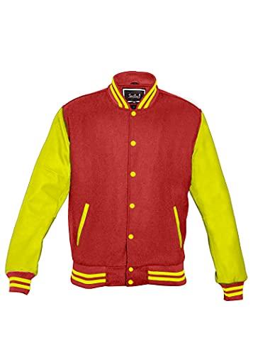 TRèS CHiC Varsity College Letterman - Chaqueta de piel auténtica con mangas amarillas/cuerpo de lana granate, (6XL)