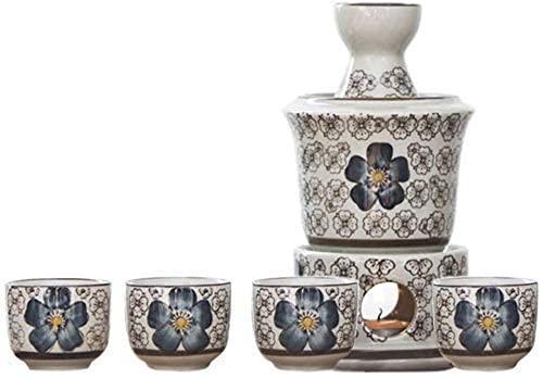 Platos - Juego de cuencos para sake japonés, 7 piezas de copas de vino Celadon con bandeja, tazas de artesanía tradicional con caja de regalo, para frío / calor / shochu / té, juegos de olla
