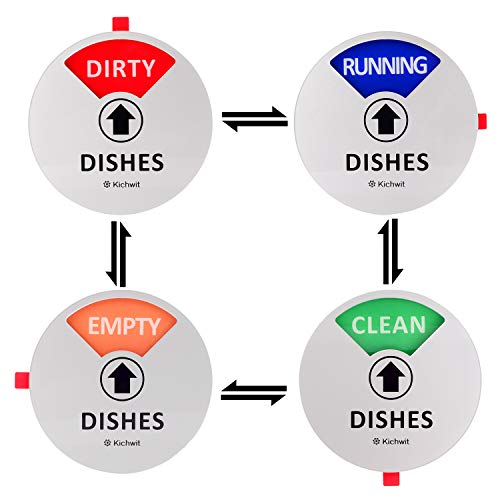 Kichwit Dishwasher Magnet Clean Dirty Sign Indicator with Running and Empty Options Works on All Dishwashers Non-Scratch Strong Magnetic Backing Residue Free Adhesive Included 4 Inch Silver