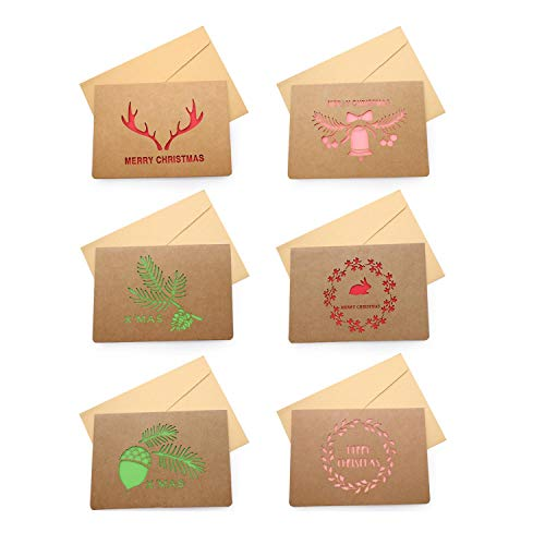 YFaith 6 Pezzi Buon Natale Auguri Biglietti con Buste,Kraft Design,Inviti Lettera,Etichette Regalo,Ideale per Thanksgiving Day Valentine's Day Festa di Compleanno(Marrone)