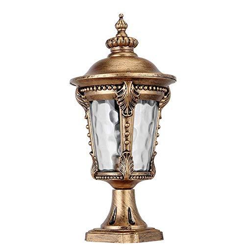 Lámparas de columna de poste de aluminio fundido a presión de bronce rústico Lámparas de columna de exterior Lámpara de pedestal Vidrio exterior Césped impermeable Lámparas de calle Jardín Bolardo E