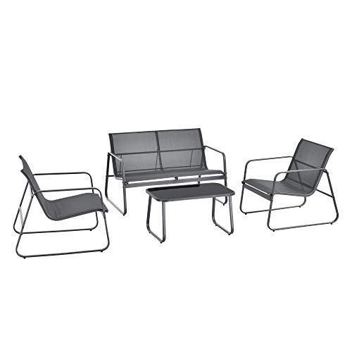 [en.casa] Set de Muebles de Jardín Palencia 4-Piezas Conjunto de Muebles de Exterior Terraza Patio Set de 2 Sillas Banco para 2 Personas Mesa de Centro Gris Oscuro y Tablero de Mesa Negro