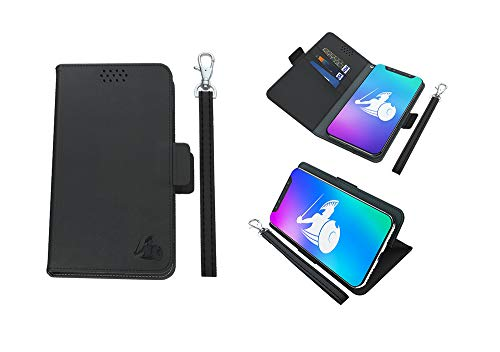 DefenderShield Universal Cell Phone 5G & EMF Shield & 5G Radiation Protection Case - RFID Blocker Detachable Magnetic Wallet Case w/Wrist Strap (Up to 6.5' x 3.2' Phones)