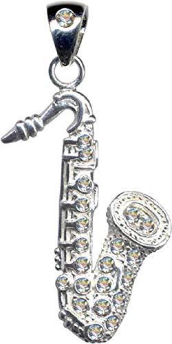 Saxofon - Colgante de plata de ley 925 con diseño de saxofón, color blanco