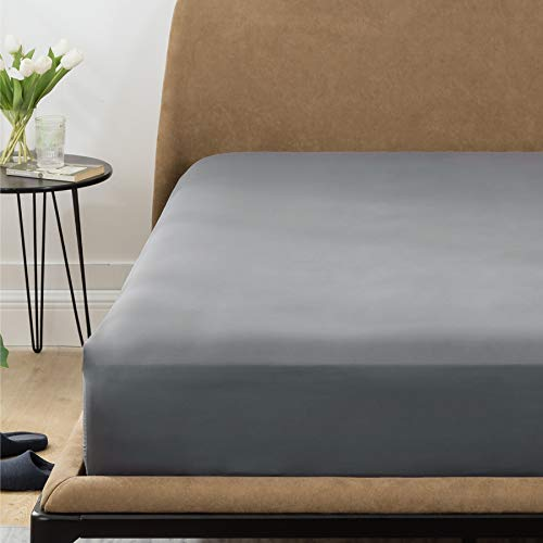 Bedsure Double Deep Fitted Sheet - Dark Grey, Soft Brushed Microfiber, Wrinkle Resistant, Deep 40cm, 135x190cm