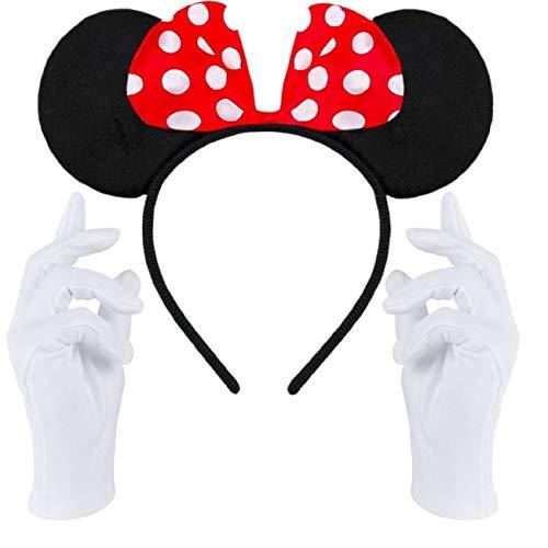 Haarreifen in schwarz mit Maus Ohren Mouse mit Schleife in rot mit weißen Punkten + weiße Handschuhe für Erwachsene und Kinder (Maus Ohren Rot-Schwarz + weiße Handschuhe)