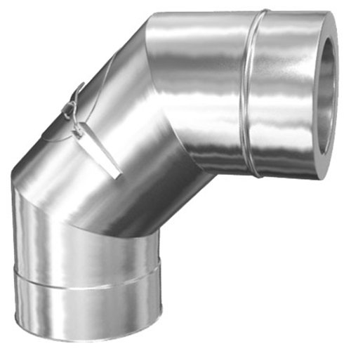 MK sp. Z o.o. Schornstein, Bogen 90° mit Revisionsöffnung, Edelstahl, ø 150 mm (210 mm) Beschichtung mit RAL-Farbe Schokoladenbraun RAL-8017