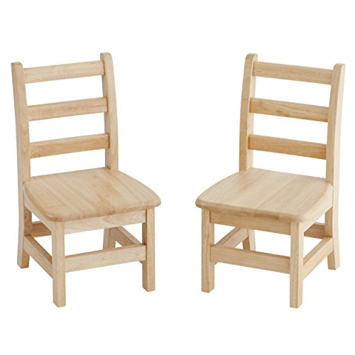 """ECR4Kids 12"""" Hardwood 3-Rung Ladderback Chair, Natural (2-Pack) Toddler Chair, GREENGUARD Gold Certified Children's Solid-Wood Kids' Chair Set for Classroom Seating"""