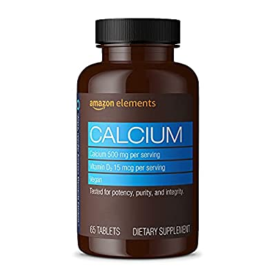 Amazon Elements Calcium plus Vitamin D, Calcium 500mg with D2 600IU, Vegan, 65 Tablets (2 month supply) (Packaging may vary)
