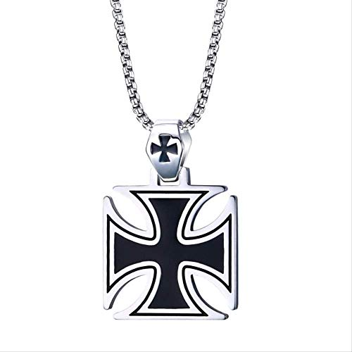 Yaoliangliang Necklace Mens Necklace Stainless Steel Vintage Knights Templar Iron Cross Pendant Necklace for Men Biker Maltese Cross Jewelry