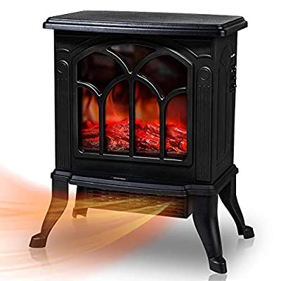 Electric Fireplace Stoves with 3D Realistic Flame Effect, 1500W Indoor Freestanding Stove Heater with Overheating Safety Protection