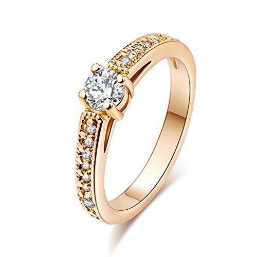 Yazilind 18k Gold überzogene Zirkonia-Band-Ring für Frauen & Mädchen (Größe 57)