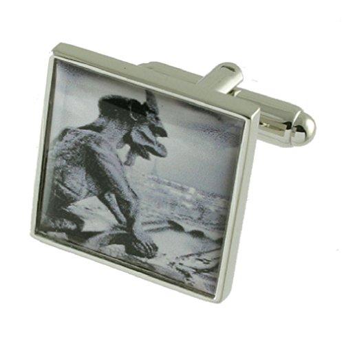 Gargouille Monster Boutons de manchette pour homme en argent sterling 925 massif Boutons de manchette + Boîte de message gravé personnalisé