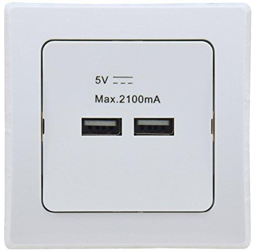 DELPHI Unterputz USB Lade Adapter 5V 2100mAh 2,1A 2 USB Anschlüsse zum Laden von Tablet Smartphone Smartwatch I Weiß