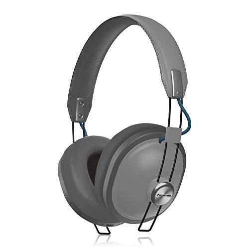 Panasonic - Auriculares inalámbricos Bluetooth retro con micrófono, amplificador de graves profundos, reproducción de 24 horas - RP-HTX80B-H (acero mate)