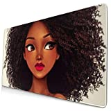 African Afro Women Girls Design Pattern XXL XL Large Gaming Mouse Pad Mat Long Extended Mousepad Desk Pad Non-Slip Rubber Mice Pads Stitched Edges (29.5x15.7x0.12 Inch)
