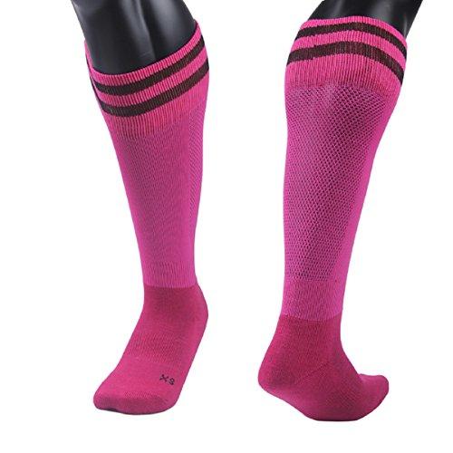 Lovely Annie Unisex Children 1 Pair Knee High Sports Socks for Baseball/Soccer/Lacrosse 003 S(Rose)