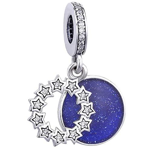 LIIHVYI Se Adapta A Pandora Original 925 Cuentas De Plata Esterlina Real Inspirational Stars & Blue Enamel Dangle Mm Mujeres DIY Jewelry Pulsera Charm Gift