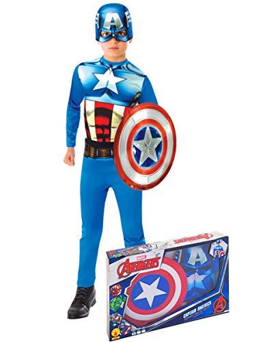 Generique - Captain America Lizenz Marvel-Kostüm für Kinder blau-rot-Weiss 116/128 (7-8 Jahre)