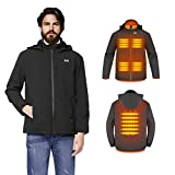 MEXITOP Heated Jacket Man/Woman-Electric Heating Coat USB Charging Outdoor Hiking Black