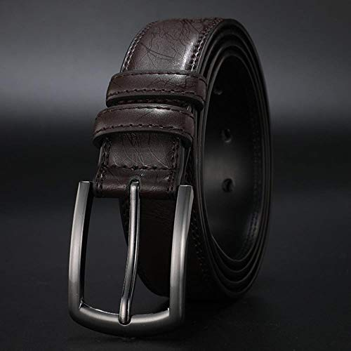 LALY A SHOP Fashion Men's Genuine Leather Belts Designer Belt for Man Pin Buckle with Leather Strap Business Dress Male Belts,Brown,95CM