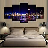 ComposicióN De 5 Cuadros De Madera Para Pared Toronto Skyline City View Canvas Cuadros Decoracion Dormitorios Cuadros Para Cabeceros De Cama Lienzos Decorativos Cuadros Grandes Baratos 150x80cm