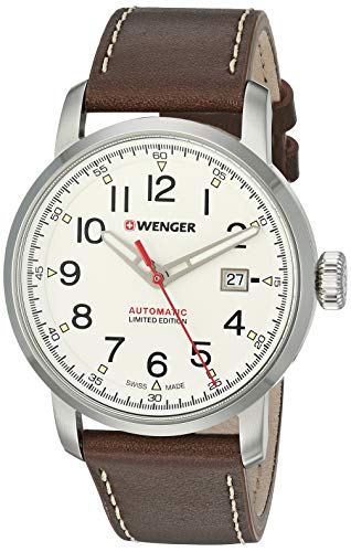 Wenger Men's Attitude Stainless Steel Swiss-Quartz Leather Strap, Brown, 21.3 Casual Watch (Model: 01.1546.101)