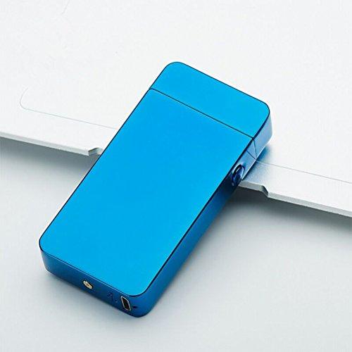 BESTOMZ BESTOMZ USB Feuerzeug - Lichtbogen Feuerzeug, Doppel-Lichtbogen flammenloses elektronisches Feuerzeug (Blue Ice) Blau