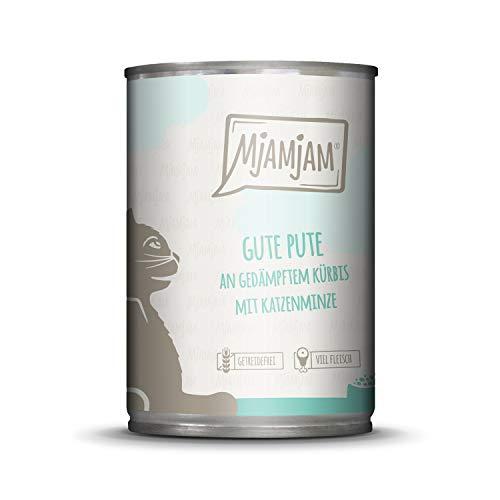 MjAMjAM - Premium Nassfutter für Katzen - Gute Pute an gedämpftem Kürbis, 1er Pack (1 x 400 g), getreidefrei mit extra viel Fleisch