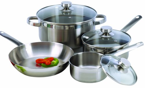 ExcelSteel Stainless Steel Cookware Set, 7 Piece, Silver