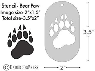 Stencil- Bear Paw, 2x1.5 Inch Image on 3.5x2 Border, Size 1