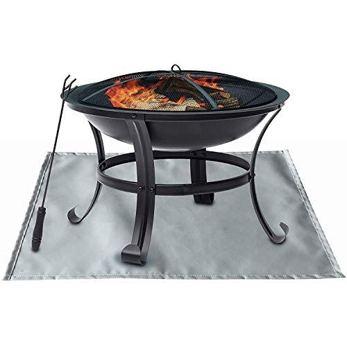 Tapete à prova de fogo, tapete de lareira para deck à prova de fogo, acessórios de lareira ao ar livre para piso, pátio e gramado - prata 31,54 cm