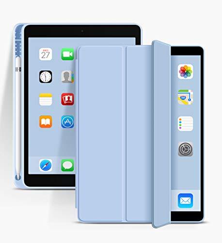 aoub iPad 2018/2017 9,7 Zoll Hülle Fallwiderstandsfähig & verschleißfest Eingebauter Stifthalter Smart Schutzhülle aus Silikon mit Schlafen/Wachen Geeignet für iPad 5. & 6. Generation 9.7 Zoll,Hellblau