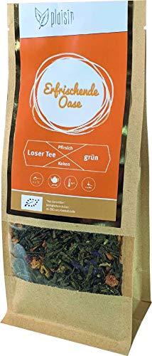 Plaisir Bio loser grüner Tee Kokos Pfirsich mit Matcha (erfrischende Oase) (100 GR) Bio Grüntee mit Früchten, natürlich