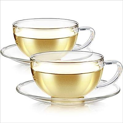 Teabloom Kyoto Teacup and Saucer Set 2-Pack – Standard Teacup Size – 6 OZ/ 180 ML Capacity – Crystal Clear Design –– Healthful Premium Borosilicate Glass – Heat Resistant, Microwave Safe