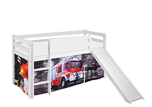Lilokids Spielbett JELLE Feuerwehr - Hochbett weiß - mit Rutsche und Vorhang