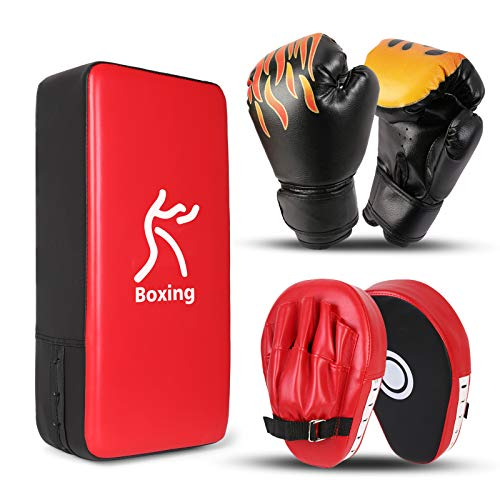Odoland 3-In-1 Boxing Gloves Punching Mitts Kick Pack Set for Kids, Boxing Mitts Focus Pads, Taewondo Kick Pad, Kids Boxing Gloves for Boxing, Kickboxing, Karate, Muay Thai, MMA Training
