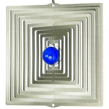 CIM Mobile en Acier Inoxydable - Orbit Quadrat 165-16,5 x 17 cm - Bille colorée Ø 3 cm - Inclus Fil en Nylon, Crochet et émerillon à roulement à Billes