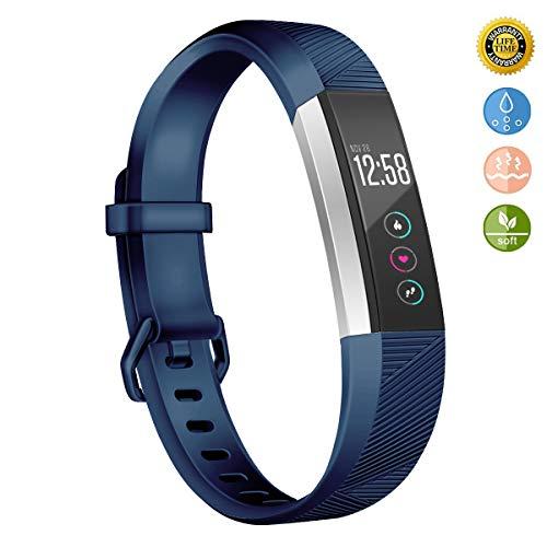 Wekin Kompatibel für Fitbit Alta/Alta Hr Strap, Ersatz Armband Alta Hr Verstellbares Soft-Silikon Sport Armband Große Kleine Herren Damen … (Navyblue, L)
