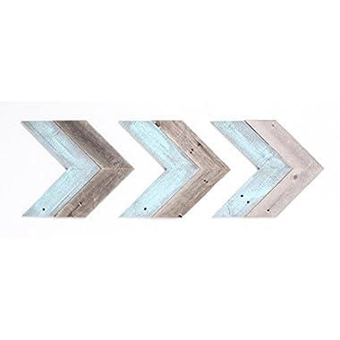 BarnwoodUSA Rustic Chevron Decorative Arrow Set of 3-100% Reclaimed Wood (Blue/Gray)