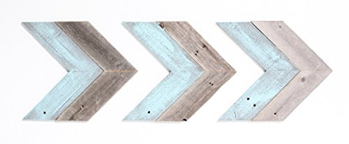 BarnwoodUSA Rustic Chevron Decorative Arrow Set of 3-100% Reclaimed Wood (Blue/Gray)