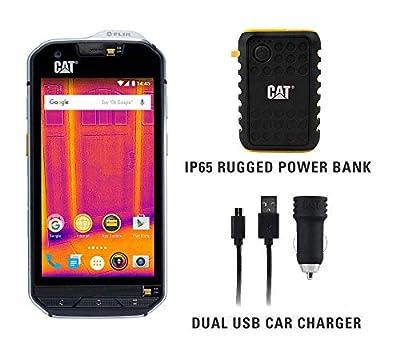 CAT S60 Single SIM Rugged Waterproof Unlocked Smartphone with Integrated FLIR Thermal Imaging Camera- North American Variant Bundle with 10000mAh Power Bank & Dual USB Car Charger