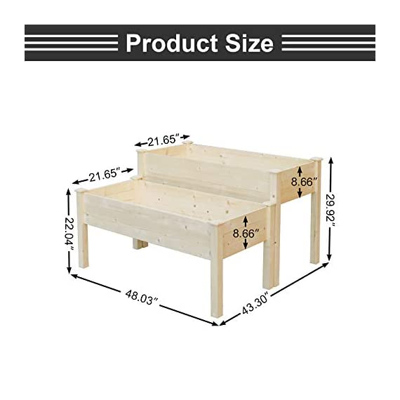 LYNSLIM Wooden 2 Tiers Elevated Raised Garden Bed Planter Box for Flower Vegetable Grow, Natural Cedar Wood Frame… 5 🌻【Classic Design】 -- Brown rattan look is classic and stylish, great decoration for indoor, outdoor, patio, backyard, porch and garden. It suitable for planting vegetables, herbs, plants and flowers. You can enjoy farm life easily anytime. 🌻【Self-watering Disk Design】 -- Self-watering disk design with water barrier and bottom board, it maintain moisture inside the plant and can filter excess water to the bottom plate. The drain holes at each side of box will draining the excess water easily. 🌻【Reinforced Plastic】 -- Made of premium reinforced PP material, which is sturdy and non-deformed, lightweight and weather-resistant. Every plastic box can bearing 80lb, it is enough to support the weight of plant and garden bed it self.