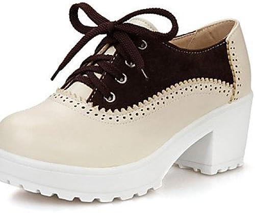 NJX  hug Chaussures Femme-Habillé-Marron   Rouge-Gros Talon-A Talon-A Plateau   Bout Arrondi-Talons-Similicuir  économiser jusqu'à 70%