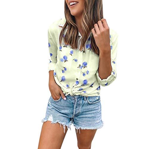 Zarupeng dames slim fit shirt met lange mouwen fruitprint T-shirt vrijetijdshemd met zakken en knoop Losse strandhemdblouse bovenkant