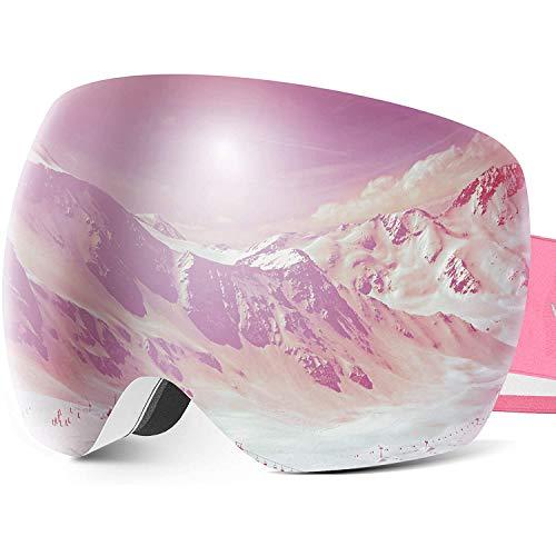 Wonido スキーゴーグル スノボゴーグル くもり止め OTG広視野球面レンズ 100%UV400カット 紫外線防止 スキーゴーグルメガネ対応 ダブルレンズ ゴーグルケース付き スキーゴーグル レディース 男女兼用(ピンク、レッド)