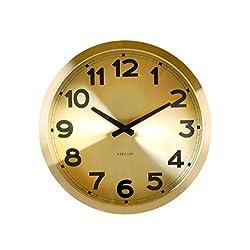 Present Time Karlsson Aluminum Station Wall Clock, Gold