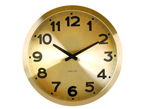 Karlsson wandklok goud cijfers aluminium, sweep uurwerk, aluminium, 4 x 39,5 x 39,5 cm
