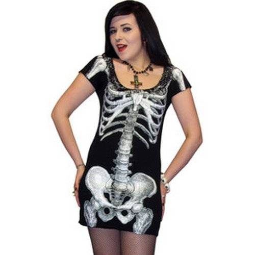 kreepsville 666Esqueleto Vestido, Vestido Negro con Blanco Esqueleto