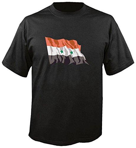 T-Shirt für Fußball LS173 Ländershirt S Mehrfarbig Syria - Syrien mit Fahne/Flagge - Fanshirt - Fasching - Geschenk - Fasching - Sportshirt schwarz